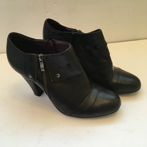 FRANCO FORTINI CAMPUS BLACK LEATHER BOOTIES.